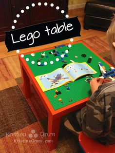 We've made a few of these Lego tables for family members lately, including one for Caroline for Christmas. She's a huge Lego fanatic and needed a place to build. This Lego table is the perfect height for kids to sit and provides a stable base for them t Fun Crafts, Diy And Crafts, Crafts For Kids, Indoor Crafts, Make Your Own, Make It Yourself, How To Make, Lego Activities, Lego Table