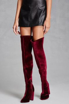 A pair of velvet thigh-high boots by LFL by Lust For Life™ featuring a side zipper, almond toe, block heel, and a flared shaft. Velvet Thigh High Boots, Bootie Boots, Shoe Boots, Grunge, Burgundy Boots, Indie, Mode Shoes, Jeweled Shoes, Side Zip Boots