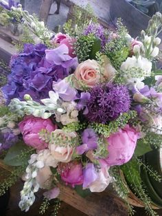Alliums, Sweet Peas, Stocks, Hydrangea And Peonies Made By Alice