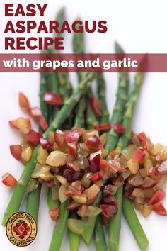 Try this quick and delicious asparagus recipe featuring garlic, balsamic vinegar, olive oil, Dijon mustard, and fresh California grapes.  Healthy and easy to make on the stovetop, this recipe is the perfect dinner side dish. Grape Recipes, Salad Recipes, Dessert Recipes, Dinner Side Dishes, Dinner Sides, Easy Asparagus Recipes, California Food, Balsamic Vinegar, Side Dish Recipes