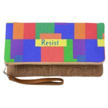 Rainbow Resist Patchwork Quilt Foldover Clutch