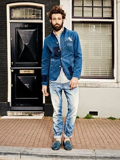 Patched Denim Jacket, Faded Loose Jeans, and Navy Suede Loafers, by Scotch & Soda. Men's Spring Summer Fashion.