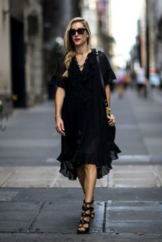 A beautiful ruffled black dress  |  For more style inspiration visit 40plusstyle.com