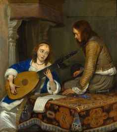 Gerard ter Borch - Woman Playing the Theorbo-Lute and a Cavalier [c.1658] | by Gandalf's Gallery