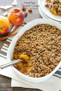 a delicious lightened up version of the classic peach crisp. This crisp is vegan, dairy, grain and gluten free. Eating healthier doesn't mean you have to sacrifice flavor.