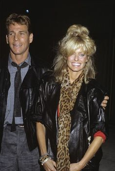 Ryan O'Neal and Farrah Fawcett circa 1980s