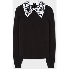 Paul Smith Women's Black Merino Wool Sweater With Removable... ($325) ❤ liked on Polyvore featuring tops, sweaters, zipper sweater, beaded sweaters, button sweater, merino wool tops and star sweaters