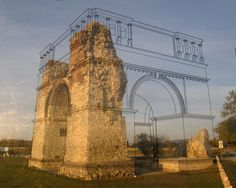 This is the Heidentor (Heathen's Gate), Austria's best-known Roman monument & landmark of the Archaeological Park Carnuntum. It is situated about 2 km from the Open Air Museum Petronell. - Cool way to help visualize the past by showing what the structure would have looked like by drawing the original design on a pane of glass in front of the monument. - photo via http://www.reddit.com/r/pics/comments/tung9/history_teaching_done_right_the_black_lines_are/