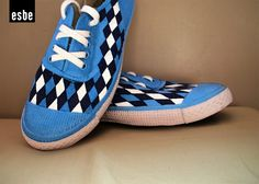 0019ba9556 Blue Checkered Hand painted canvas shoes by esbe