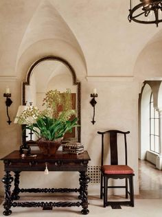 Suzanne Tucker Interiors ~ The Romance of Design By Suzanne Tucker. Love how the mirror fits perfectly Hacienda Homes, Hacienda Style, Entry Stairs, Entry Foyer, Spanish House, Spanish Style, Spanish Revival, Beautiful Interiors, Beautiful Homes