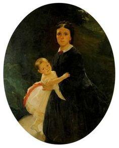 Nikolai Ge - Porträt of Shestova mit tochter