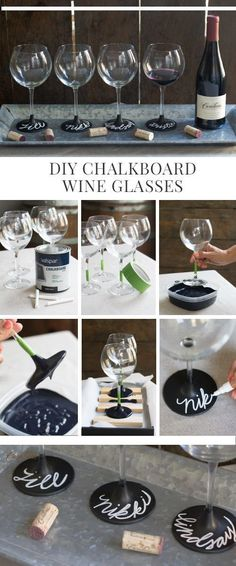Use chalkboard paint and chalk to personalize wine glasses - bridesmaid gifts - bachelorette party - engagement party - bridesmaid proposal