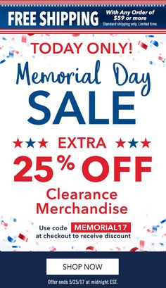 2993d581ec51 Take and extra 25% off all clearance with code MEMORIAL17 at checkout