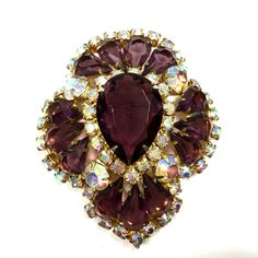 Stunning Vtg Big JULIANA D&E Purple & AB Pear Rhinestone Brooch Pin Gold  From Dellagraces Vintage Jewelry on Ebay #JulianaDE