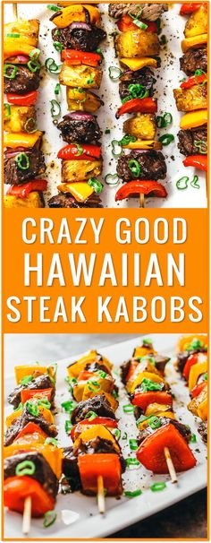 Crazy good Hawaiian steak kabobs Hawaiian steak marinade easy recipe grilling broiling baking beef kabobs on the grill beef kabob marinade baked kabobs ground beef kabobs beef kabobs in the oven broiled kabobs with rice marinated sides gre Grilling Recipes, Cooking Recipes, Healthy Recipes, Beef Kabob Recipes, Healthy Grilling, Shrimp Recipes, Steak Recipes In Oven Dinners, Dinners On The Grill, Vegetable Recipes