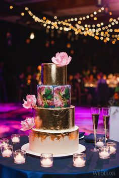 A gilded wedding #cake with a floral motif echoed throughout the event | Photography: Blush Wedding Photography | WedLuxe Magazine #luxurywedding #weddingcake
