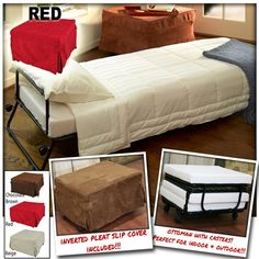 Ottoman Folding Bed Foldable Lounge Sofa Foot Stool with Invert Pleat Slip Cover + Casters (Red) - Ultra Saver
