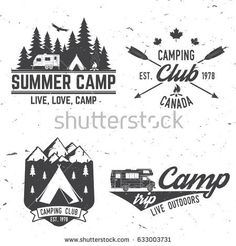 a1497a62 Concept for shirt or logo, print, stamp or tee. Vintage typography design  with rv trailer, camping tent and forest silhouette.