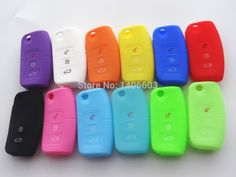 1pc Silicone car key remote cover case fit for Ford Fiesta Focus 2 Ecosport Kuga Escape 3 Buttons fold key 12 color auto parts