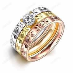 Women 18Krgp 3-In-1 Titanium Stainless Steel Tri Color Trinity Cz Wedding Rings