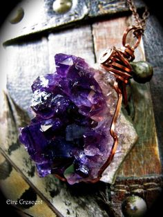 Large Dark Amethyst Geode Necklace by EireCrescent on Etsy, $29.99