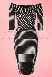 Vintage chic Black White Striped Pencil Dress 100 14 18207 20160226 0004W