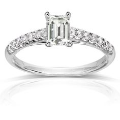 Annello 14k White Gold Emerald-cut Moissanite and 1/6 ct TDW Diamond... ($543) ❤ liked on Polyvore featuring jewelry, rings, white, 14k white gold ring, diamond rings, diamond band ring, pave engagement rings and white gold rings