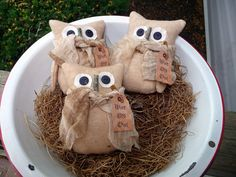 Primitive Owl bowl filler tuck ornies prim barn owl by ahlcoopedup, $14.95