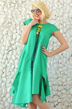 Emerald Maxi Dress / Extravagant Summer Dress / Asymmetrical Cotton Dress TDK182 / SS16