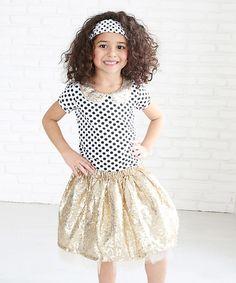Love this Gold Polka Dot Sparkle Collar Tee - Infant, Toddler & Girls on #zulily! #zulilyfinds