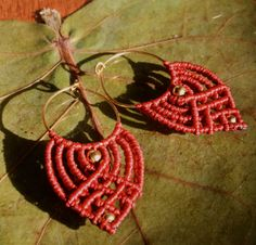 macrame earings tribal boho ethnic dark red by whiterythmicwind