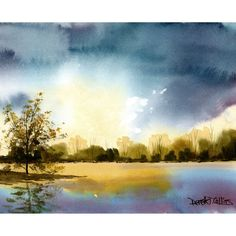 Landscape painting watercolor lake sunset