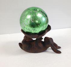 """Cast Iron Bunny with 4"""" Green Leaf Glass Gazing Globe"""