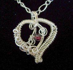 Heart Necklace Gift for Girlfriend, January Birthstone Necklace Gift, Unique Heart Necklace for Women, Woven Wire Heart Garnet Pendant