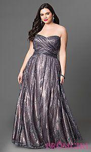 Long Metallic Strapless Plus-Size Prom Dress