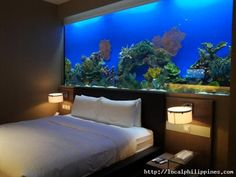 An actual fish tank as a wall Aquariums Saltwater Fish Tanks Wall Aquarium, Acrylic Aquarium, Saltwater Aquarium Fish, Home Aquarium, Aquarium Design, Aquarium Ideas, Cool Fish Tanks, Tropical Fish Tanks, Tanked Aquariums
