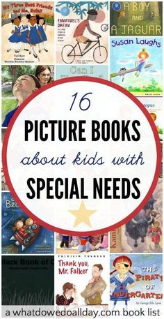 For Preslees work with typical kids.- Wonderful children's books about special needs. List contains a variety of books about disabilities ranging from blindness to autism. Preschool Books, Preschool Literacy, Sequencing Activities, Speech Activities, Educational Activities, Mentor Texts, Special Needs Kids, Teaching Reading, Autism Teaching