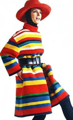 Striped pullover coat by Nina Ricci, 1967.