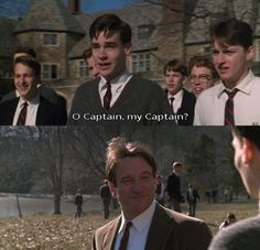 Robert Sean Leonard as Neil Perry and Robin Williams as Mr. Keating in Dead Poets Society (1989).