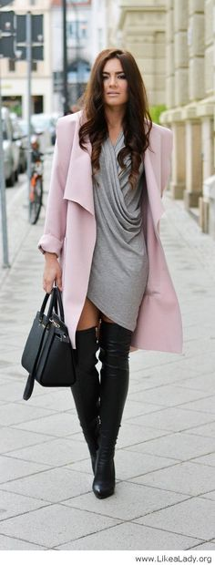 Awesome pastel coat with wrap dress and over the knee boots