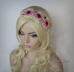 Оголовье ювелирные изделия волос crochetpink цветы волос от EZDessin