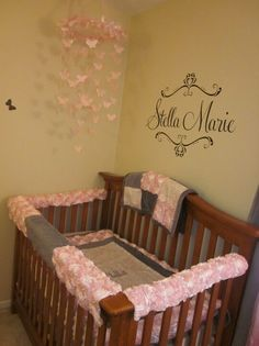 Pink Rosette and Grey crib bedding