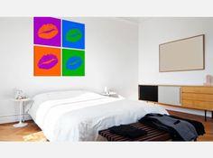 """""""Überlegen Sie, wie den Pop-Art Stil in Ihrem Zuhause zu integrieren und den Kitsch-Effekt zu vermeiden? Wählen Sie Wohnaccessoires, die von der Masskultur inspiriert wurden, wie z.B. dieses Wandbild #wandbild #wandbilder #pop-art #bunt #4teiligeswandbild #lippen #artgeist """""""