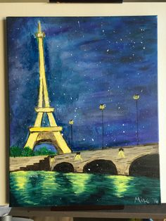 Eiffel Tower  Acrylic on canvas (16x20) Another Eiffel tower with Art Social but this one is more interesting I think.  The bridge is well executed and the water shimmers in an appealing way.  The tower has an elongated feel which is wrong but actually a nice effect. Happy accidents.