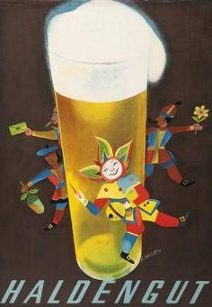 Alois Carigiet, Haldengut, 1938 Vintage Advertisements, Vintage Ads, Vintage Posters, Guinness Advert, Beer Cartoon, Beer Advertisement, Beer Poster, More Beer, Beer Brewery