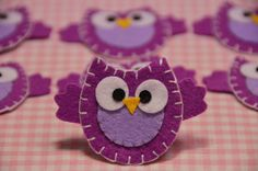 Set of 6pcs handmade felt owllight plum FT890 by AsecInc on Etsy, $5.89