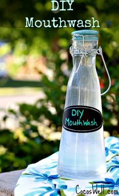 Super simple DIY Mouthwash Recipe-helps whiten teeth, prevent cavities and freshens breath!  http://www.cocoswell.com