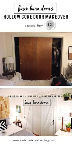 New bedroom makeover diy hollow core doors 33 Ideas Barn Door Closet, Diy Sliding Barn Door, Sliding Closet Doors, Diy Barn Door, Rustic Closet, Barn Doors For Closets, Bedroom Doors, Closet Bedroom, Diy Bedroom