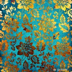 turquoise/teal and gold wallpaper Vintage Floral Backgrounds, Background Vintage, Chinese Background, Golden Background, Tapete Gold, Turquoise Wallpaper, Teal And Gold Wallpaper, Impression Textile, Vintage Cartoons