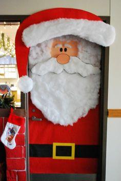 Christmas classroom decorations, Teachers can create a Santa classroom door display using construction paper and cotton balls